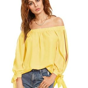 Off Shoulder Slit Sleeve Tie Cuff Blouse Top